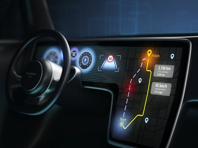 Car dashboard computer lit up